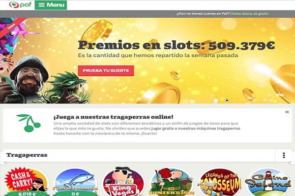 paf casino premios